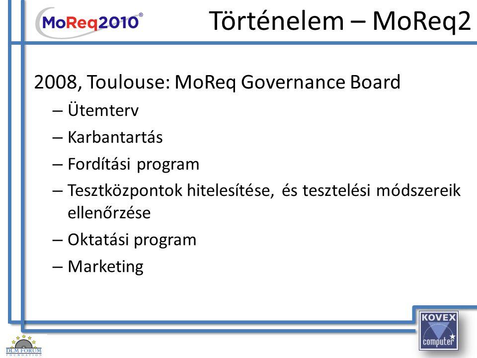 Történelem – MoReq2 2008, Toulouse: MoReq Governance Board Ütemterv