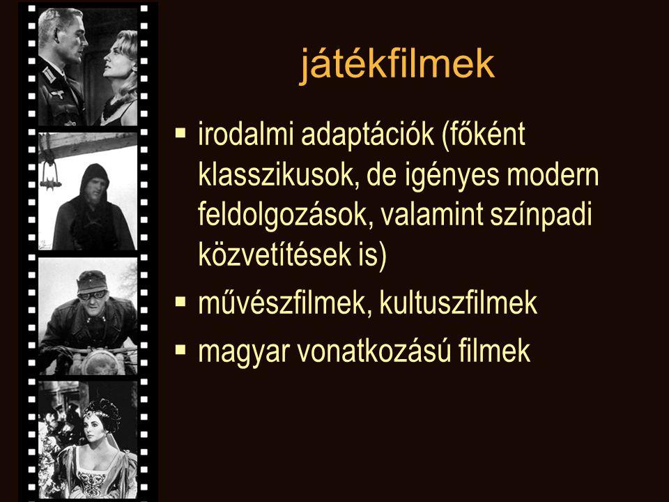játékfilmek irodalmi adaptációk (főként klasszikusok, de igényes modern feldolgozások, valamint színpadi közvetítések is)