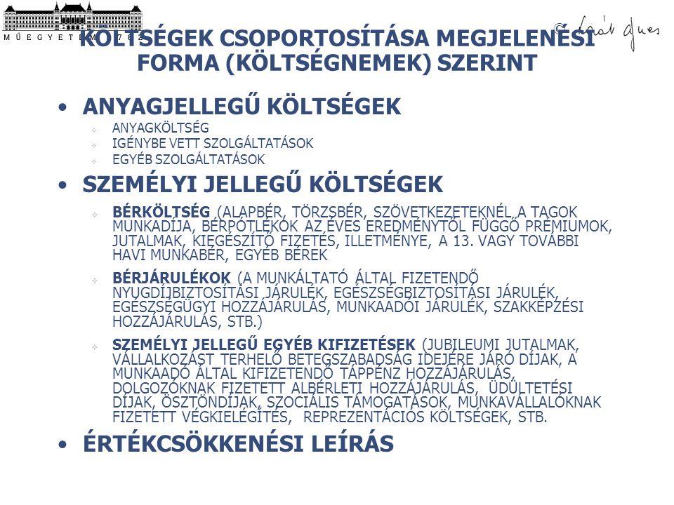 KÖLTSÉGEK CSOPORTOSÍTÁSA MEGJELENÉSI FORMA (KÖLTSÉGNEMEK) SZERINT