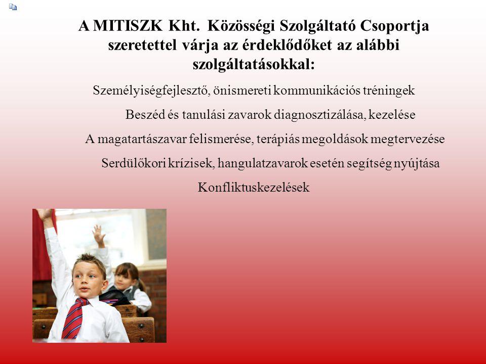 A MITISZK Kht. Közösségi Szolgáltató Csoportja szeretettel várja az érdeklődőket az alábbi szolgáltatásokkal: