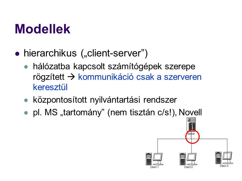 """Modellek hierarchikus (""""client-server )"""