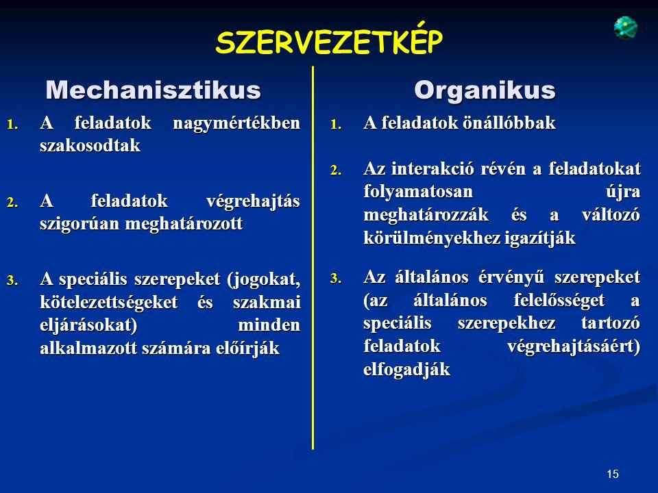 SZERVEZETKÉP Mechanisztikus Organikus
