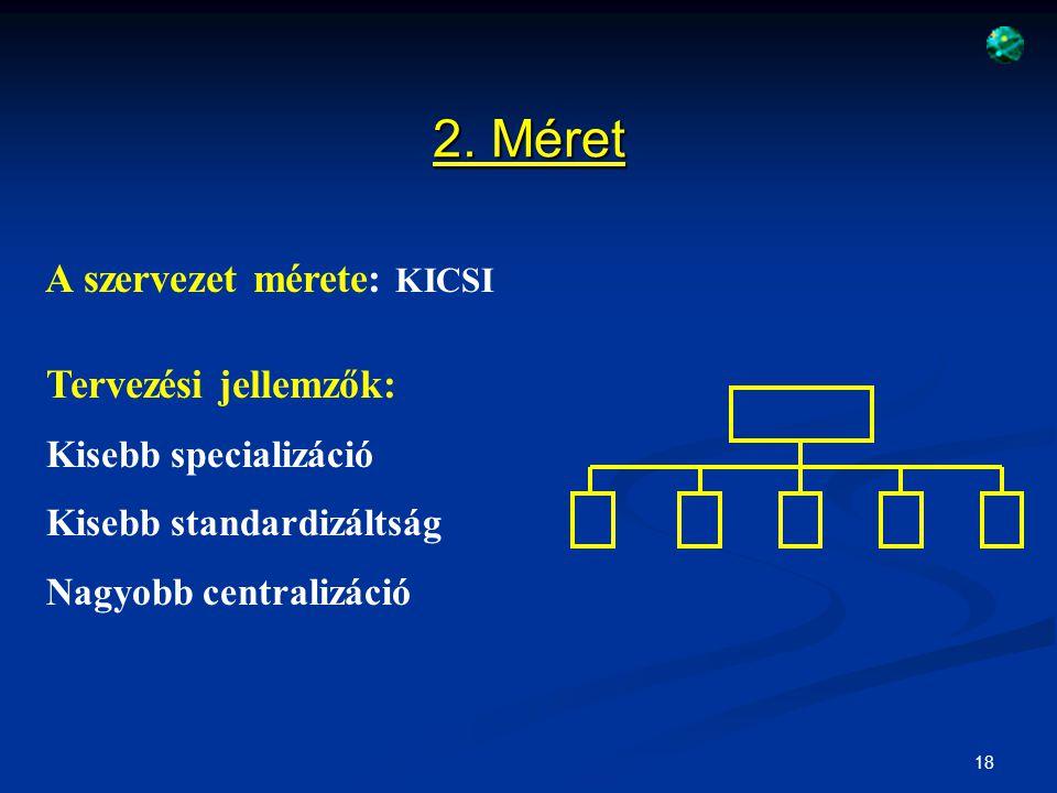 2. Méret A szervezet mérete: KICSI Tervezési jellemzők: