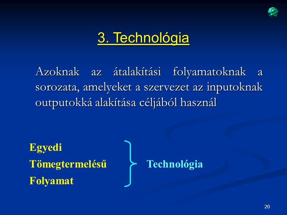 3. Technológia Azoknak az átalakítási folyamatoknak a sorozata, amelyeket a szervezet az inputoknak outputokká alakítása céljából használ.
