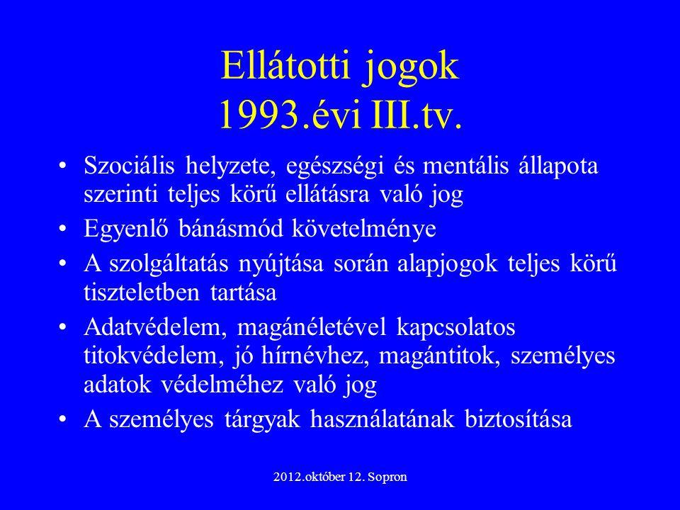 Ellátotti jogok 1993.évi III.tv.