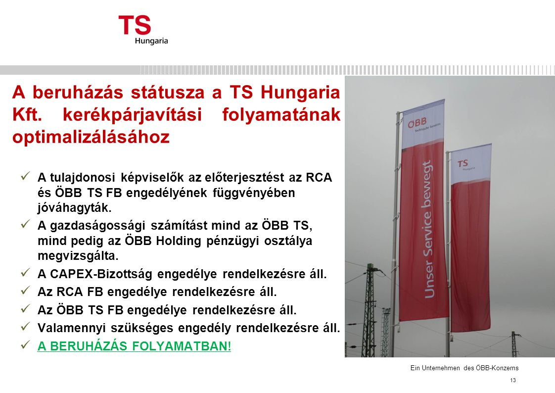 A beruházás státusza a TS Hungaria Kft