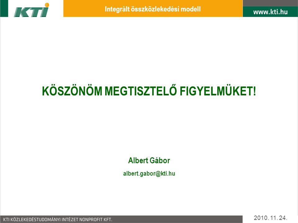 Integrált összközlekedési modell KÖSZÖNÖM MEGTISZTELŐ FIGYELMÜKET!