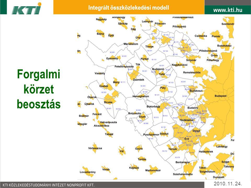 Integrált összközlekedési modell Forgalmi körzet beosztás