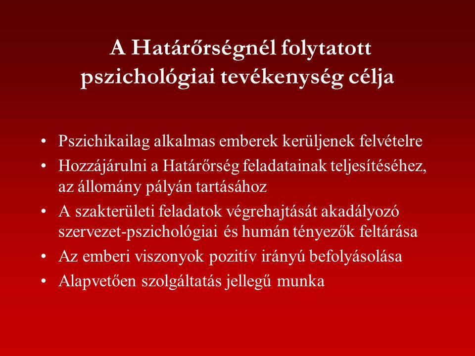 A Határőrségnél folytatott pszichológiai tevékenység célja