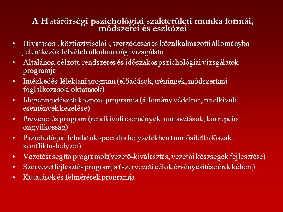 A Határőrségi pszichológiai szakterületi munka formái, módszerei és eszközei