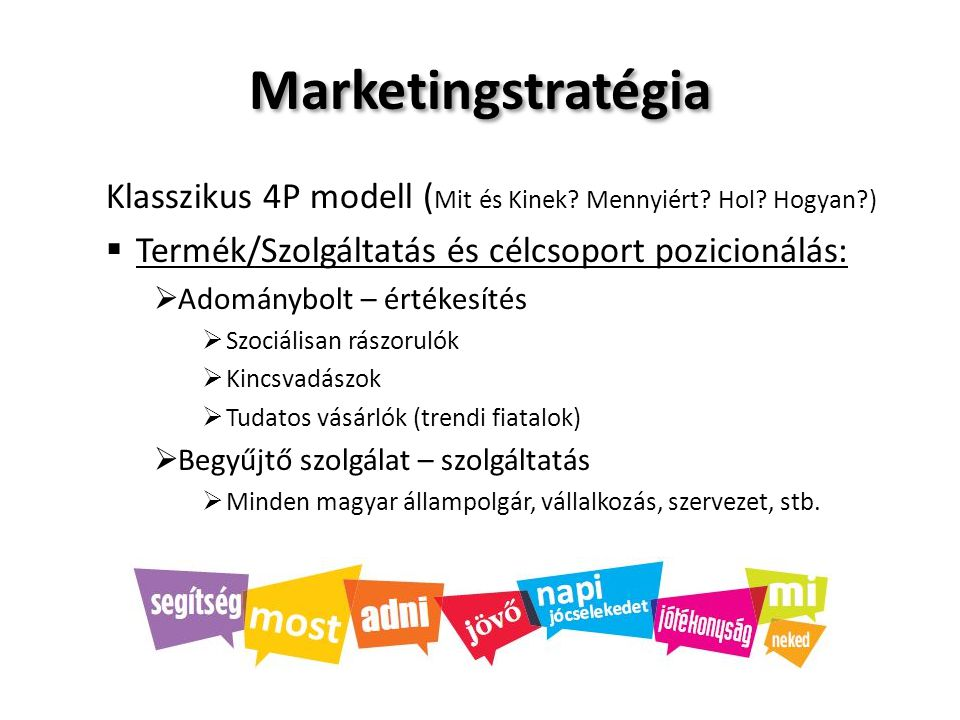 Marketingstratégia Klasszikus 4P modell (Mit és Kinek Mennyiért Hol Hogyan ) Termék/Szolgáltatás és célcsoport pozicionálás: