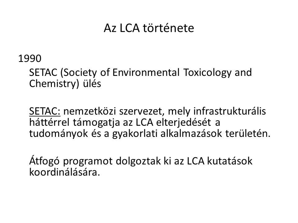 Az LCA története 1990. SETAC (Society of Environmental Toxicology and Chemistry) ülés.