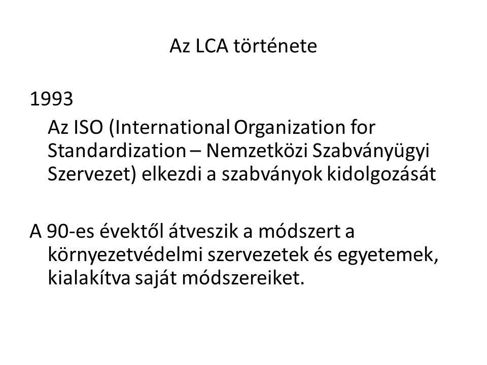 Az LCA története 1993. Az ISO (International Organization for Standardization – Nemzetközi Szabványügyi Szervezet) elkezdi a szabványok kidolgozását.
