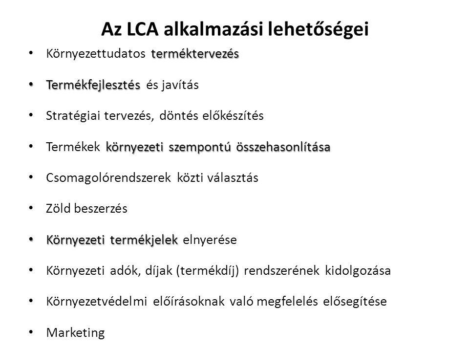 Az LCA alkalmazási lehetőségei