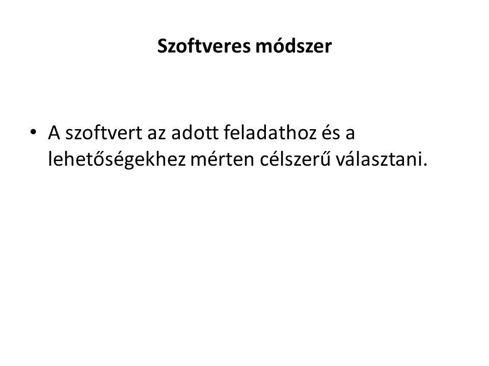Szoftveres módszer A szoftvert az adott feladathoz és a lehetőségekhez mérten célszerű választani.