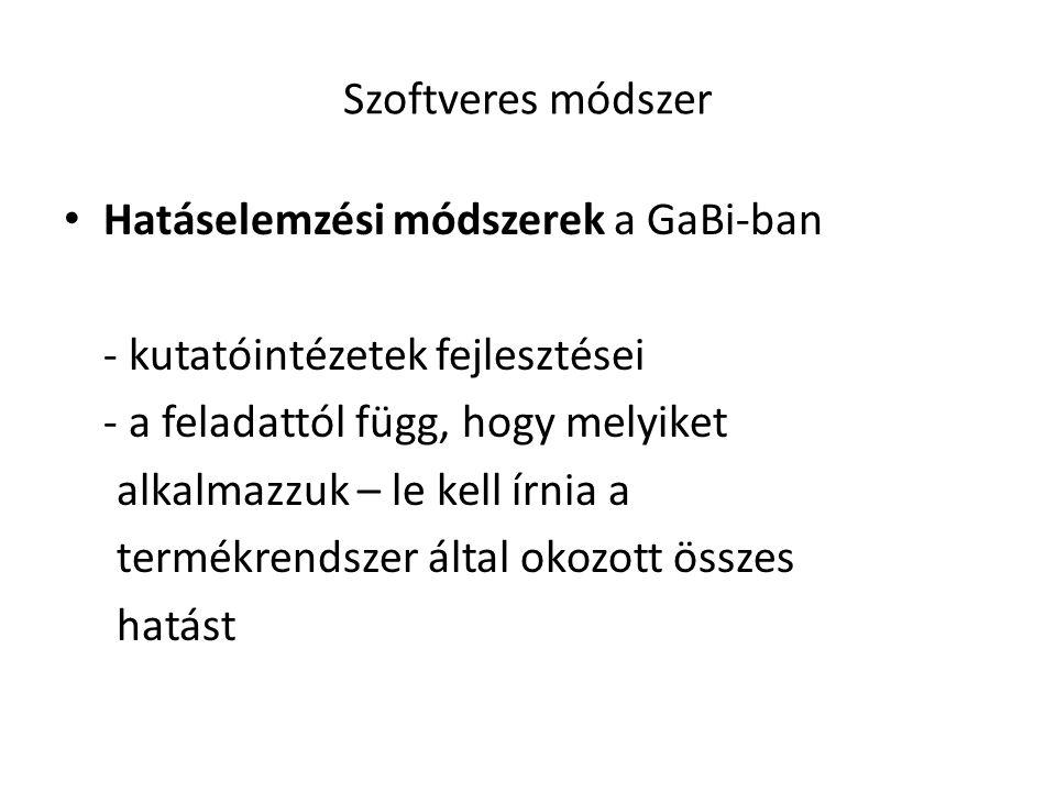 Szoftveres módszer Hatáselemzési módszerek a GaBi-ban. - kutatóintézetek fejlesztései. - a feladattól függ, hogy melyiket.