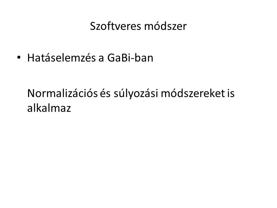 Szoftveres módszer Hatáselemzés a GaBi-ban Normalizációs és súlyozási módszereket is alkalmaz