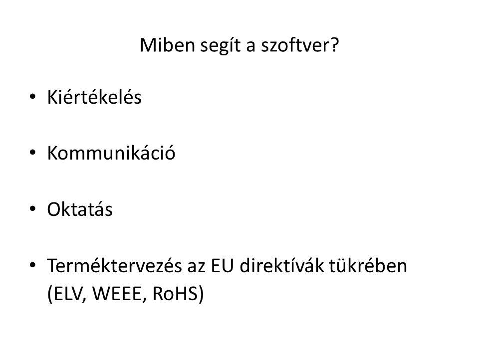 Miben segít a szoftver Kiértékelés. Kommunikáció. Oktatás. Terméktervezés az EU direktívák tükrében.