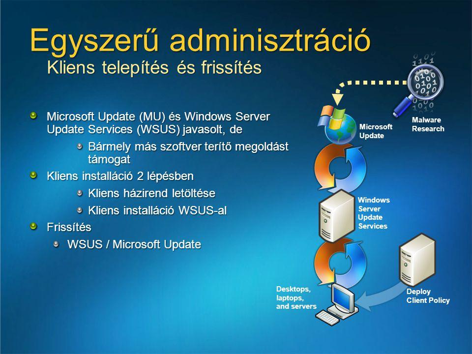 Egyszerű adminisztráció Kliens telepítés és frissítés