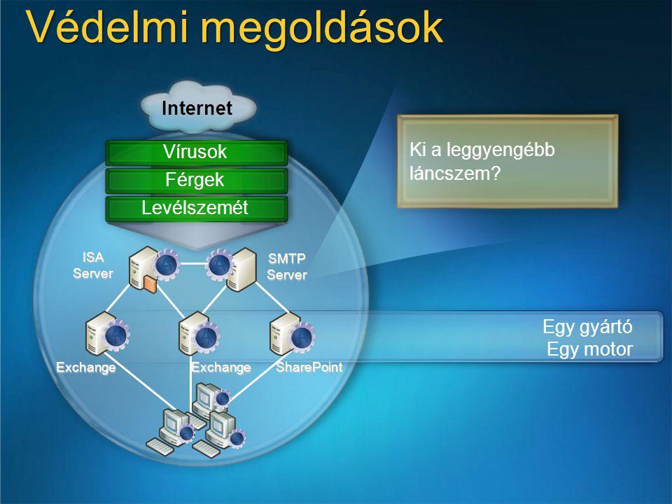 Védelmi megoldások Internet Ki a leggyengébb láncszem Vírusok Férgek