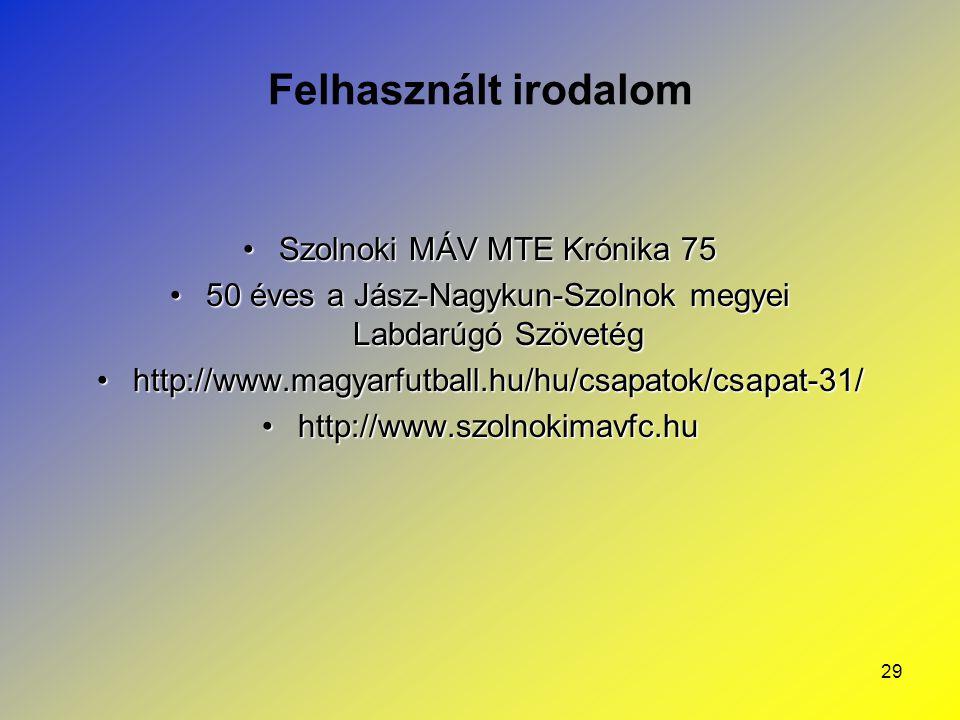 Felhasznált irodalom Szolnoki MÁV MTE Krónika 75