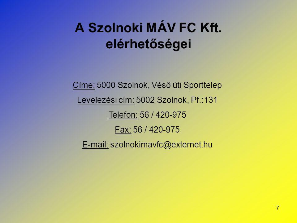 A Szolnoki MÁV FC Kft. elérhetőségei