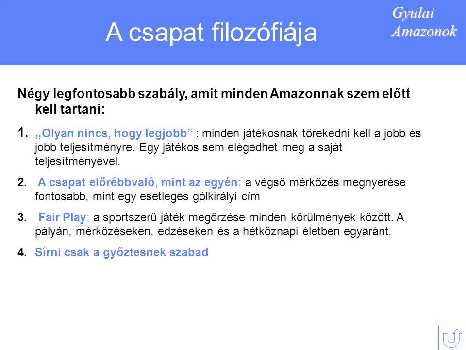 A csapat filozófiája Gyulai Amazonok