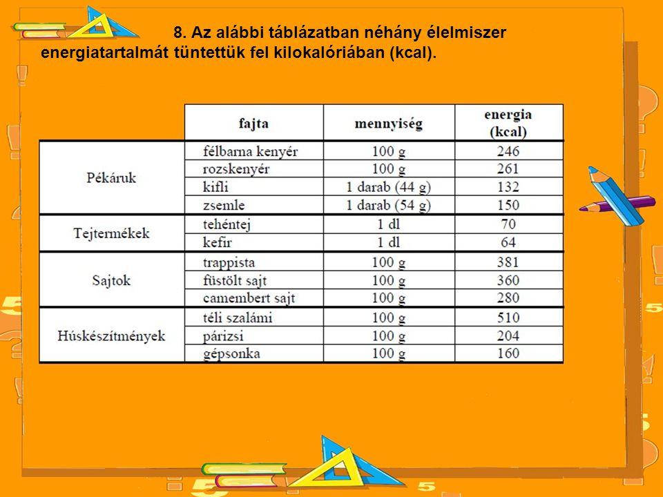 8. Az alábbi táblázatban néhány élelmiszer