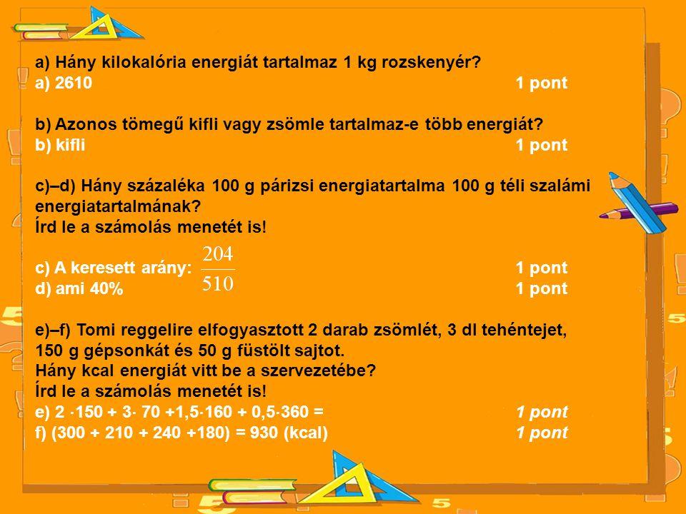 a) Hány kilokalória energiát tartalmaz 1 kg rozskenyér