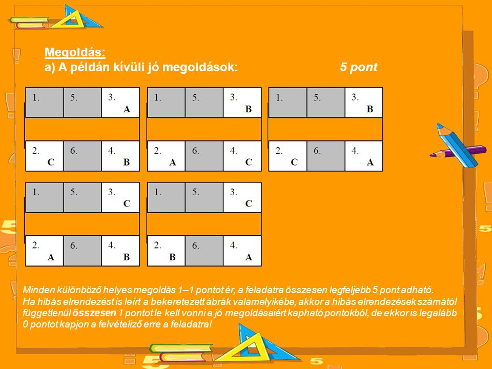 a) A példán kívüli jó megoldások: 5 pont