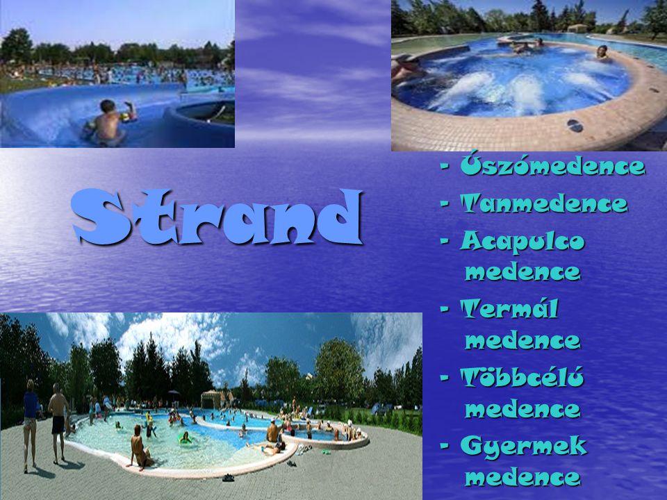 Strand - Úszómedence - Tanmedence - Acapulco medence - Termál medence