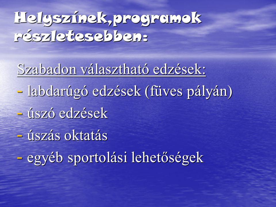 Helyszínek,programok részletesebben: