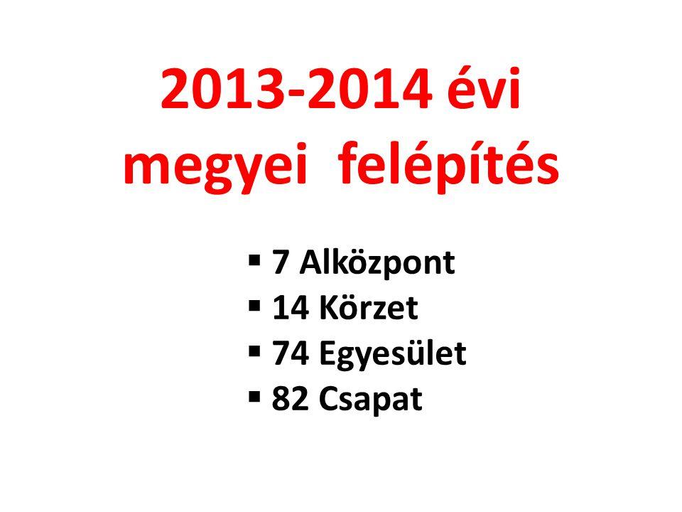 2013-2014 évi megyei felépítés 7 Alközpont 14 Körzet 74 Egyesület