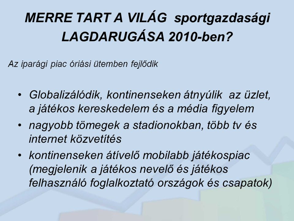 MERRE TART A VILÁG sportgazdasági LAGDARUGÁSA 2010-ben