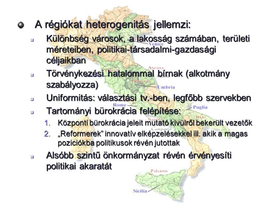 A régiókat heterogenitás jellemzi: