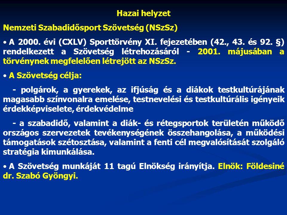 Hazai helyzet Nemzeti Szabadidősport Szövetség (NSzSz)