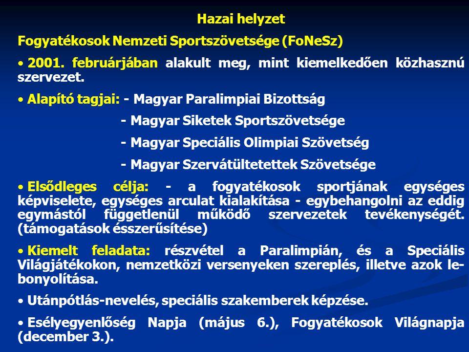 Hazai helyzet Fogyatékosok Nemzeti Sportszövetsége (FoNeSz) 2001. februárjában alakult meg, mint kiemelkedően közhasznú szervezet.