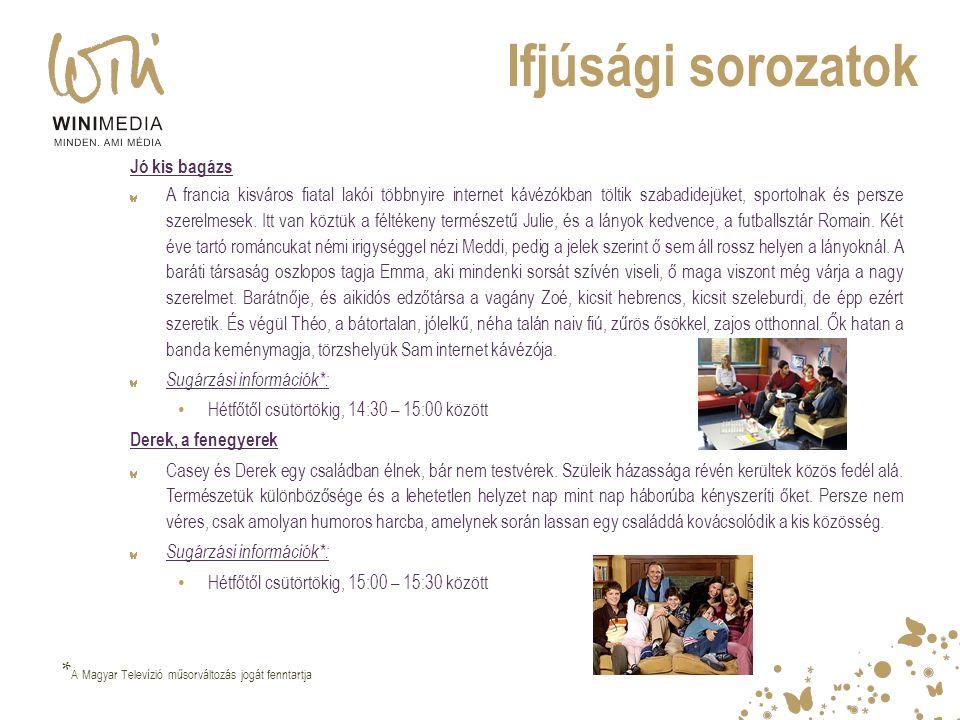 Ifjúsági sorozatok *A Magyar Televízió műsorváltozás jogát fenntartja