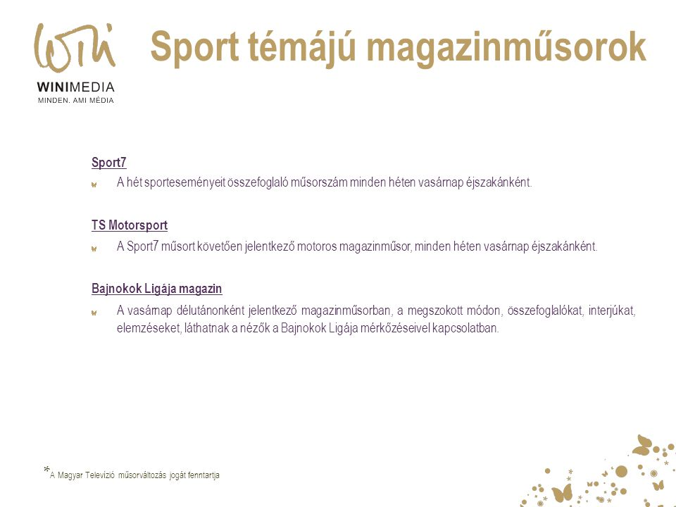 Sport témájú magazinműsorok