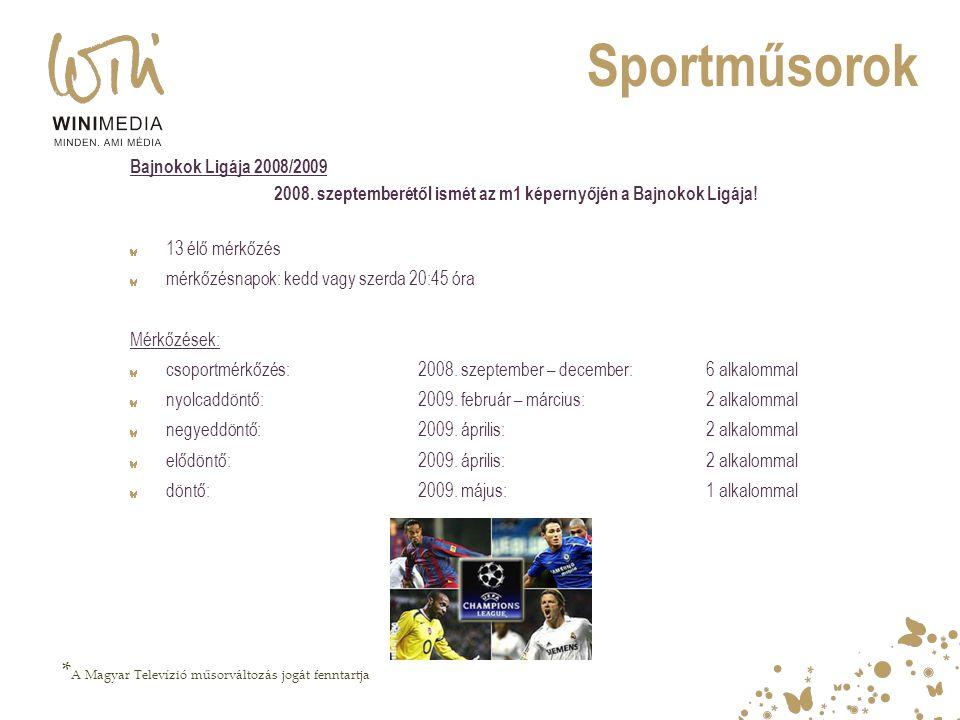 2008. szeptemberétől ismét az m1 képernyőjén a Bajnokok Ligája!
