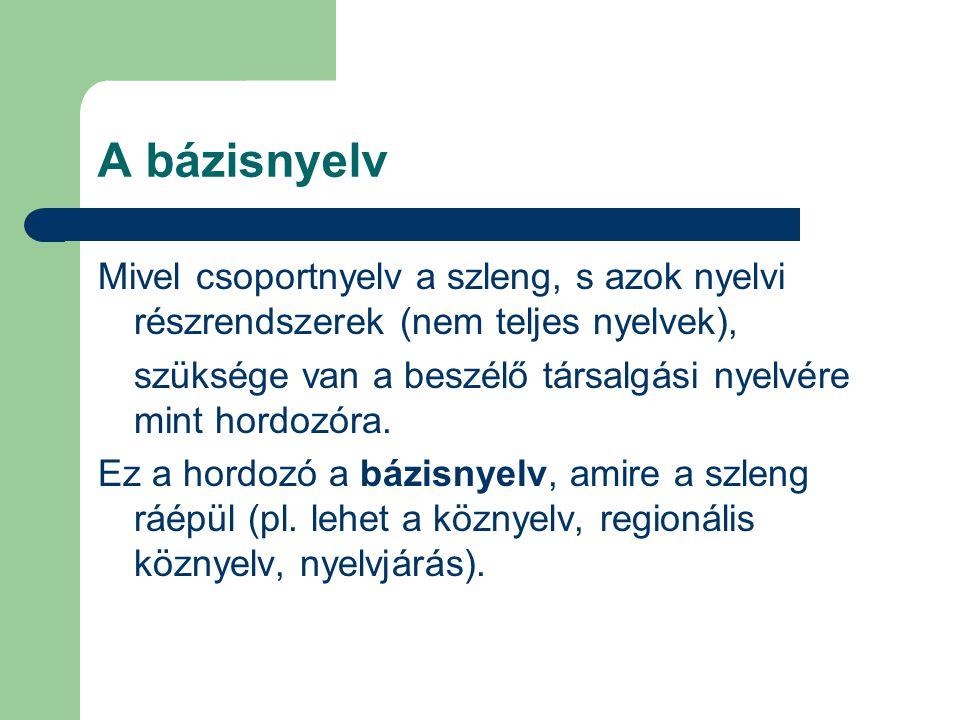 A bázisnyelv Mivel csoportnyelv a szleng, s azok nyelvi részrendszerek (nem teljes nyelvek),