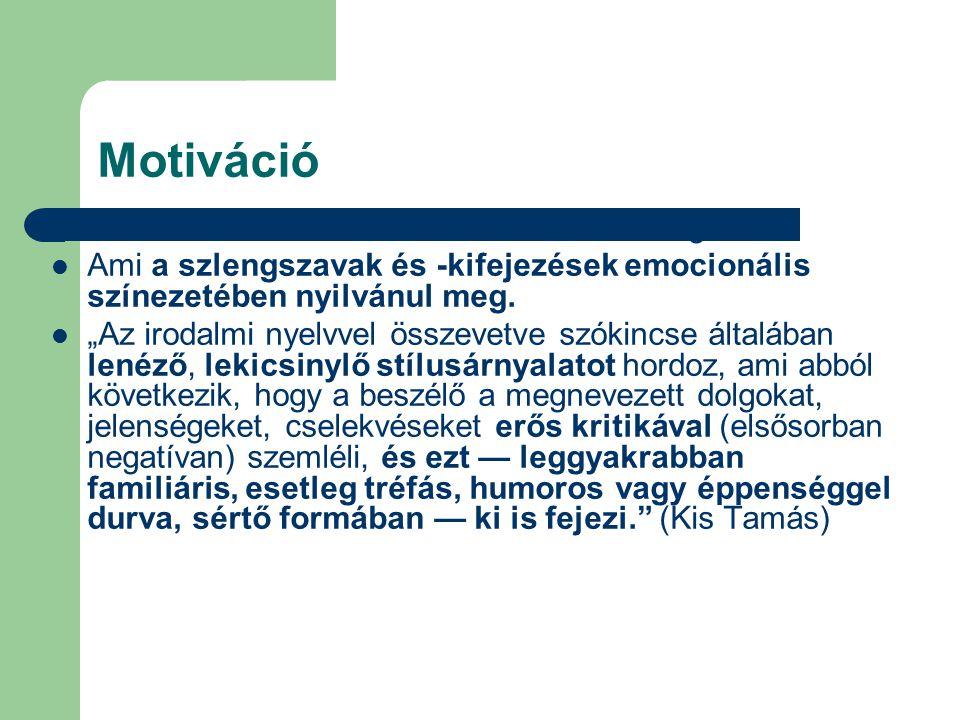 Motiváció Erős érzelmi szűrőn keresztül szemlélt világ.