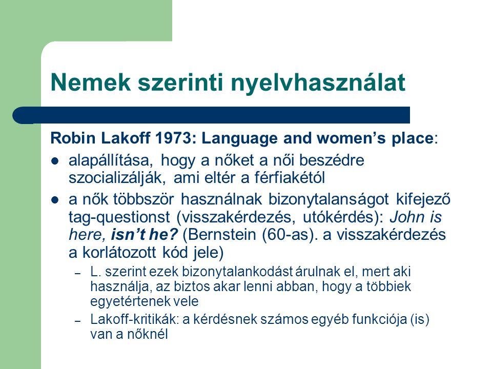 Nemek szerinti nyelvhasználat