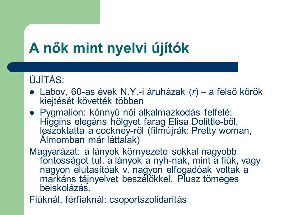 A nők mint nyelvi újítók
