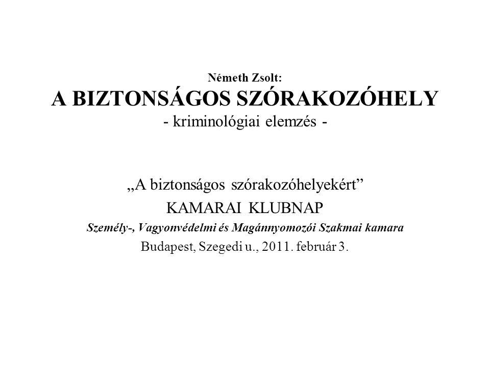 Németh Zsolt: A BIZTONSÁGOS SZÓRAKOZÓHELY - kriminológiai elemzés -