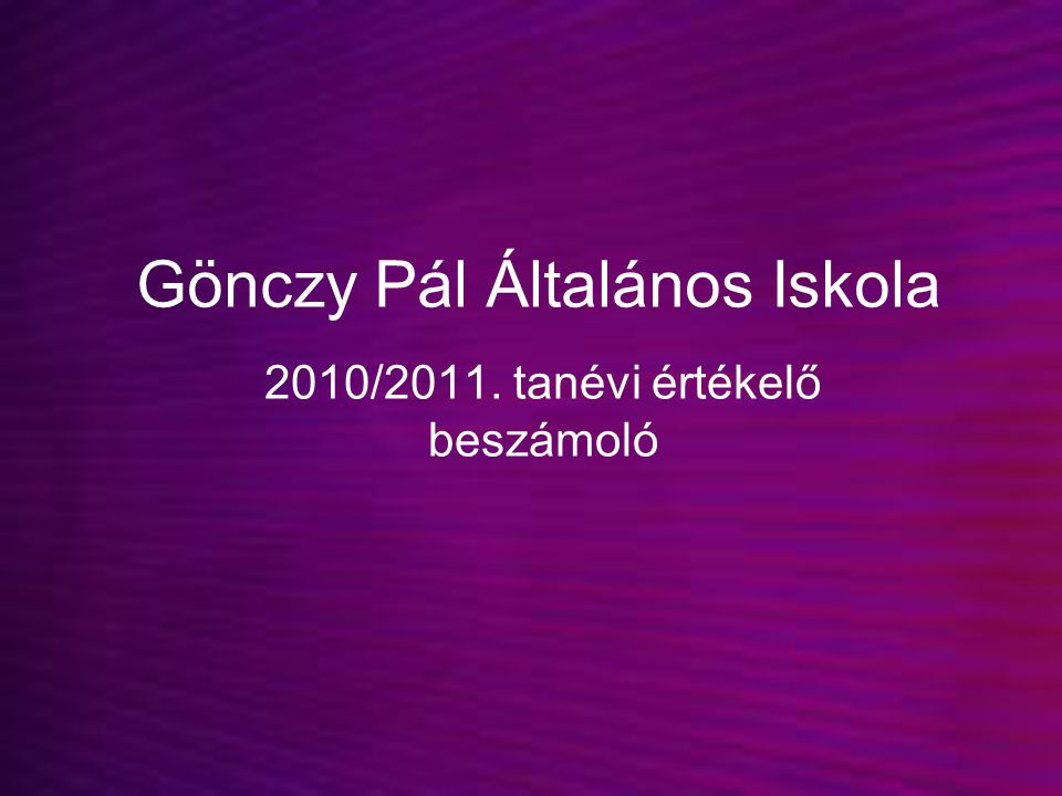 Gönczy Pál Általános Iskola