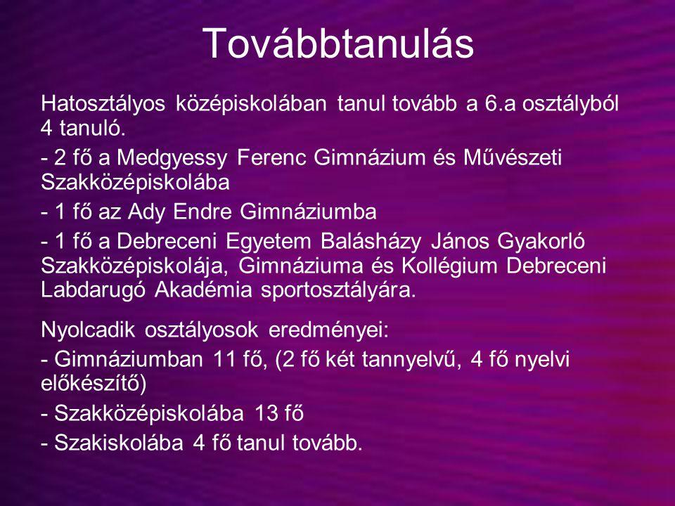 Továbbtanulás Hatosztályos középiskolában tanul tovább a 6.a osztályból 4 tanuló. - 2 fő a Medgyessy Ferenc Gimnázium és Művészeti Szakközépiskolába.