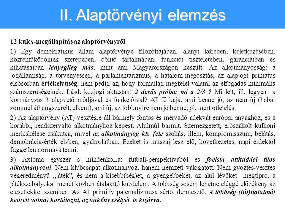 II. Alaptörvényi elemzés