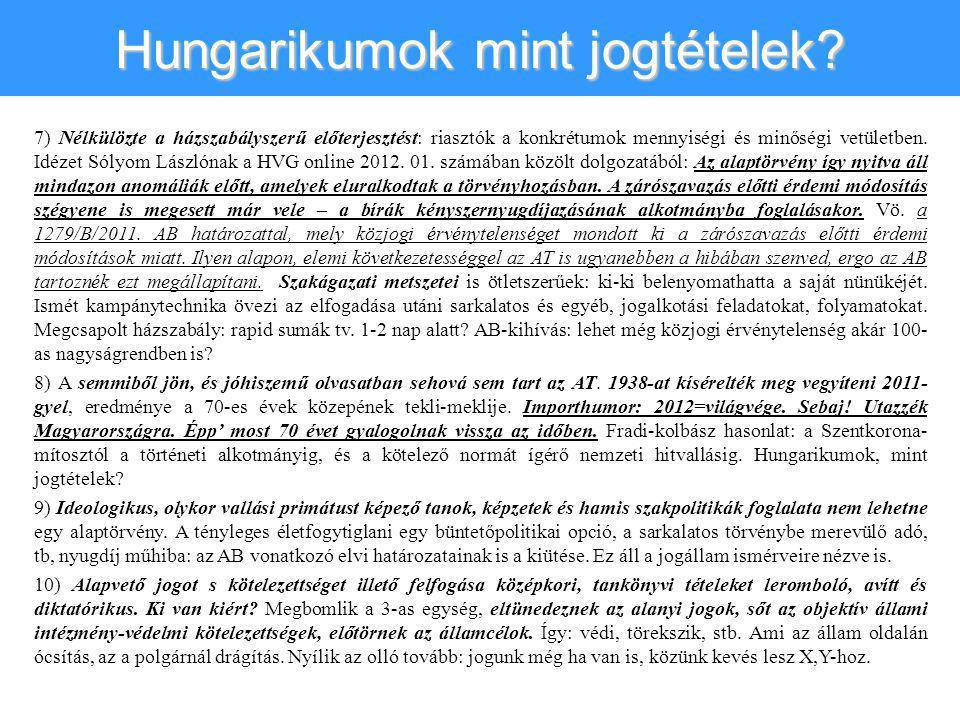 Hungarikumok mint jogtételek