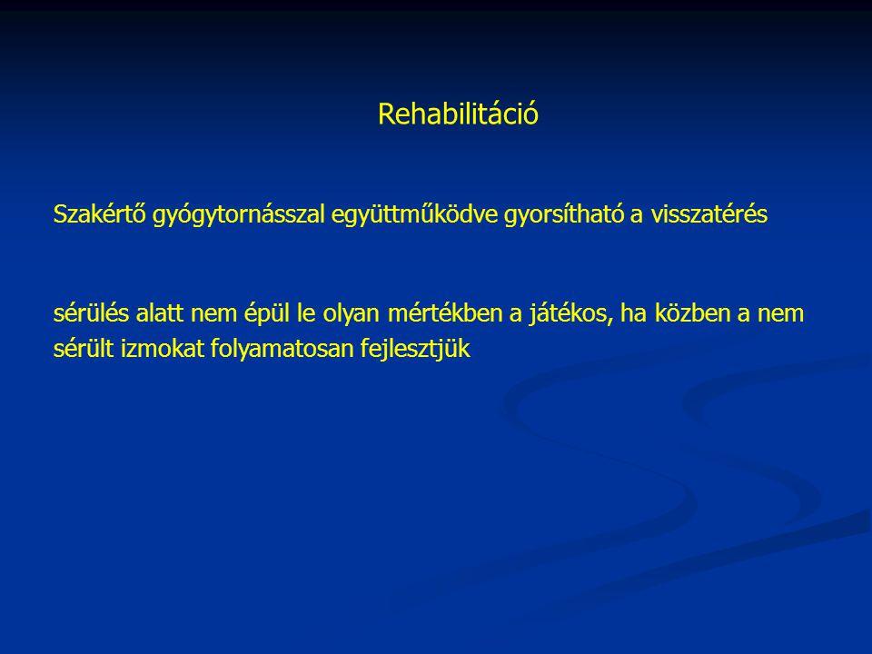 Rehabilitáció Szakértő gyógytornásszal együttműködve gyorsítható a visszatérés.